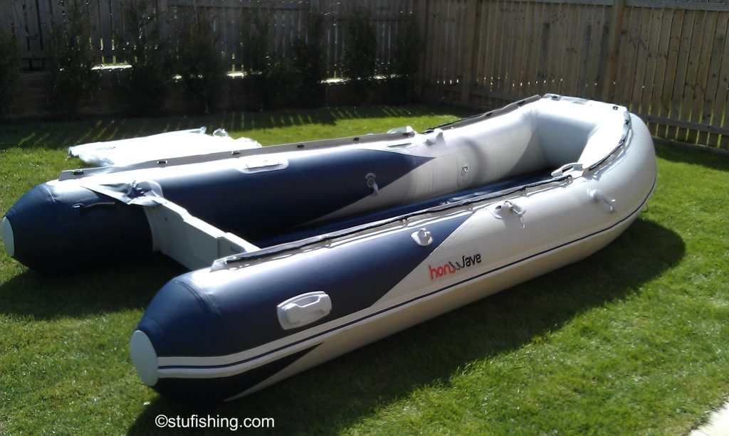 The Honda Honwave T40-AE Inflatable Boat garden side view
