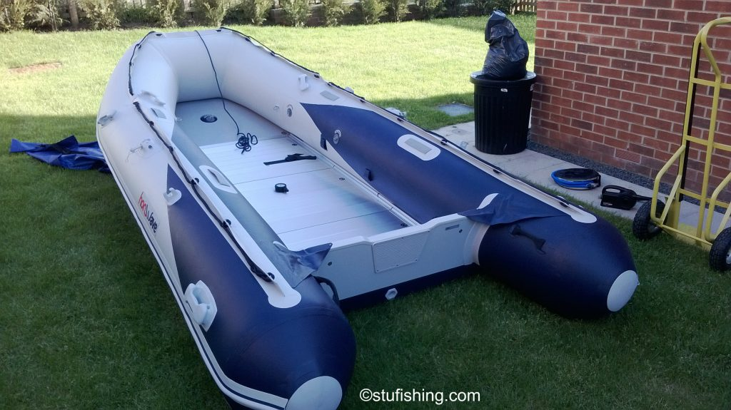 The Honda Honwave T40-AE Inflatable Boat garden back view garden