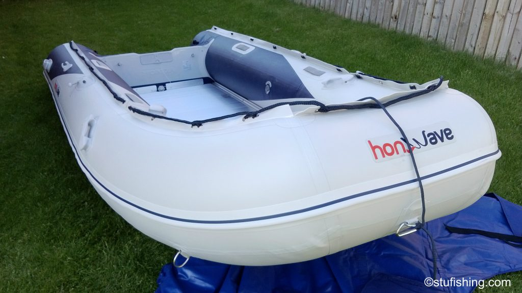 The Honda Honwave T40-AE Inflatable Boat garden front corner view