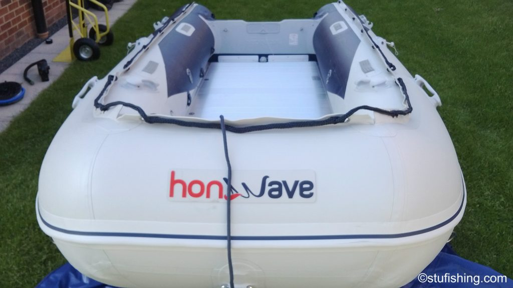 The Honda Honwave T40-AE Inflatable Boat garden front view