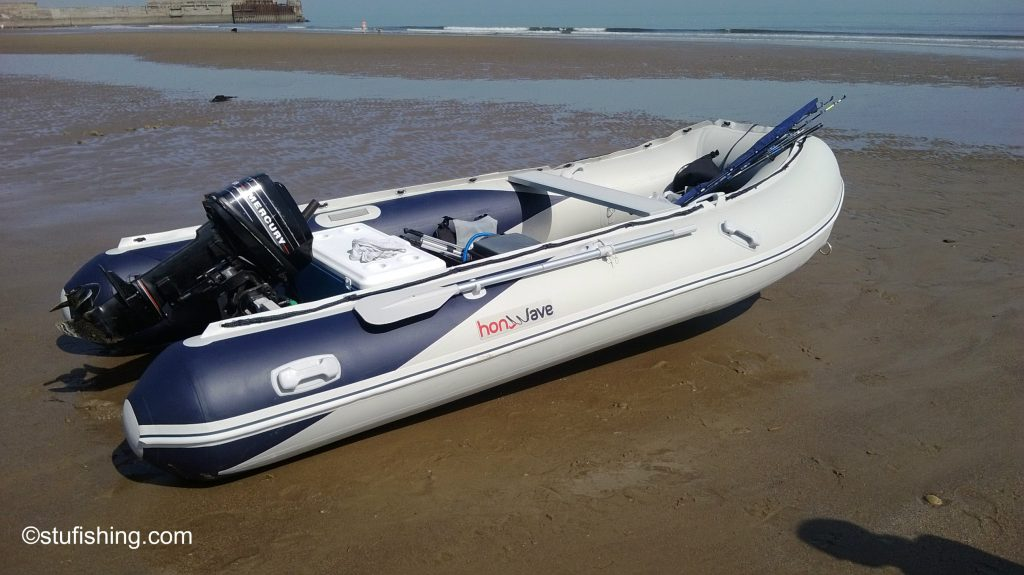 The Honda Honwave T40-AE Inflatable Boat garden side view skinningrove beach