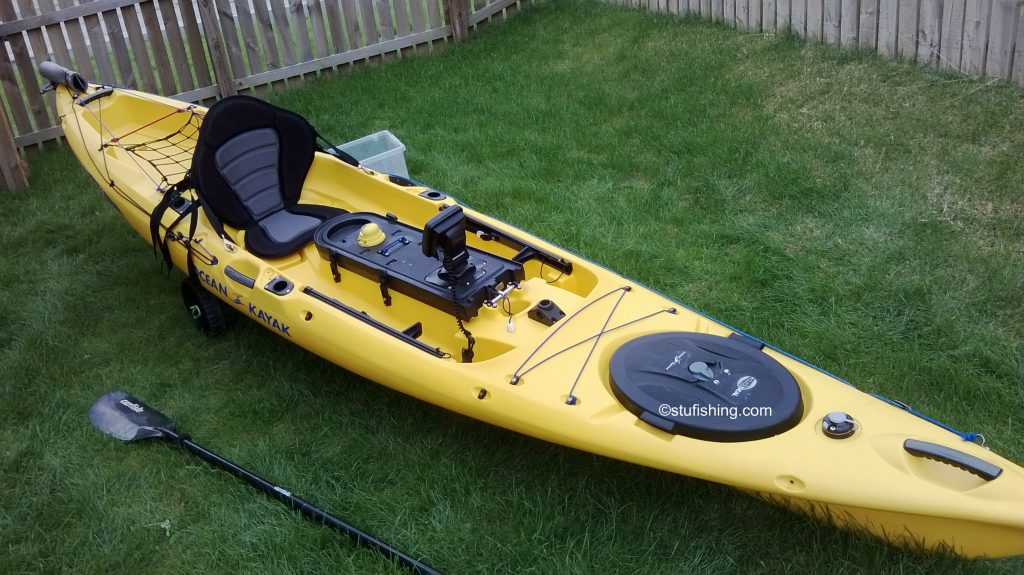 Ocean Kayak Prowler Ultra 4.3 Fishing Kayak in garden