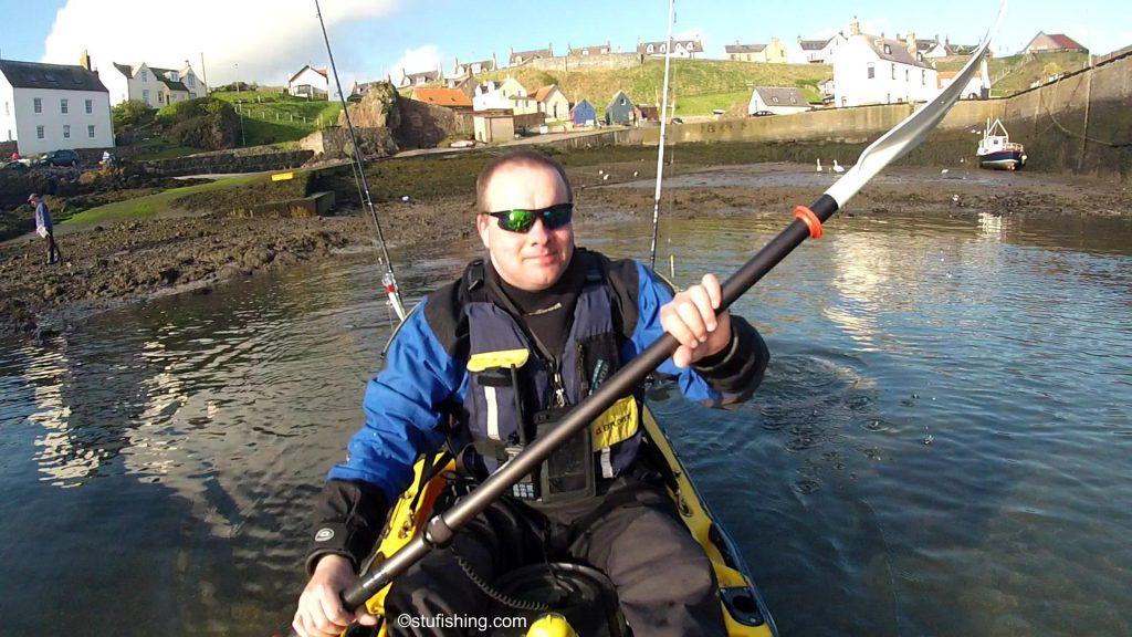 Kayak Fishing at St Abbs setting off