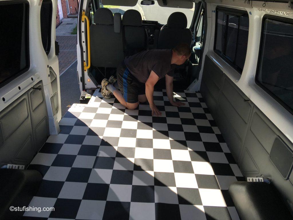 Camper Van Project vinyl flooring inside van