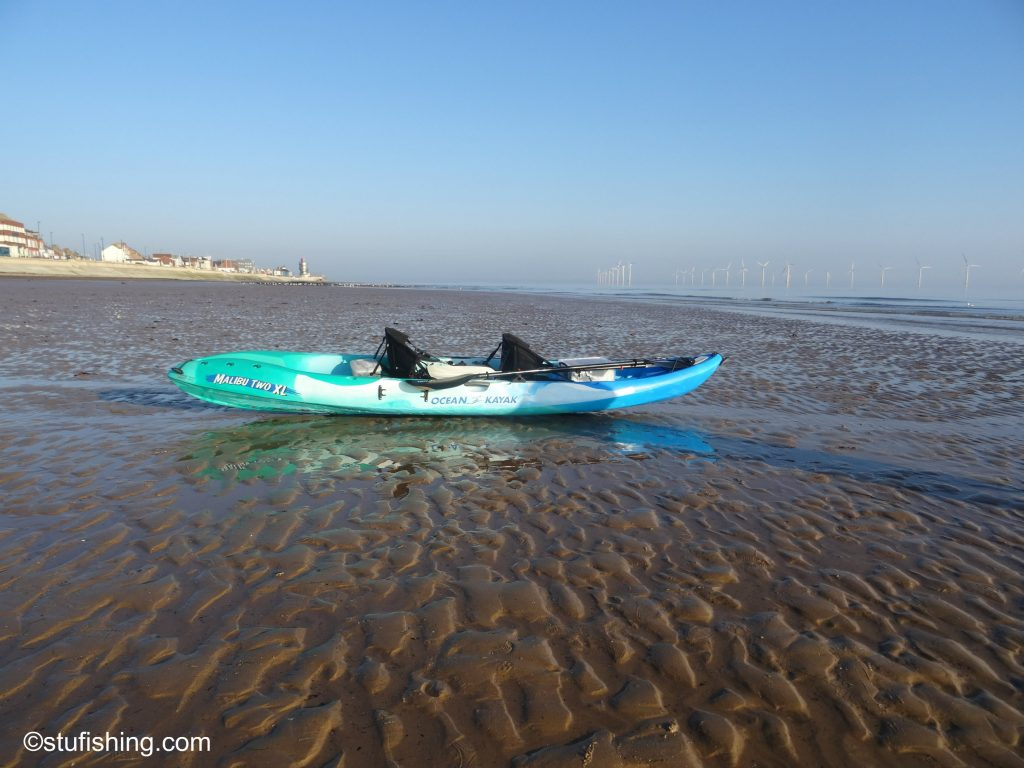 Kayak Fishing on the beach Redcar