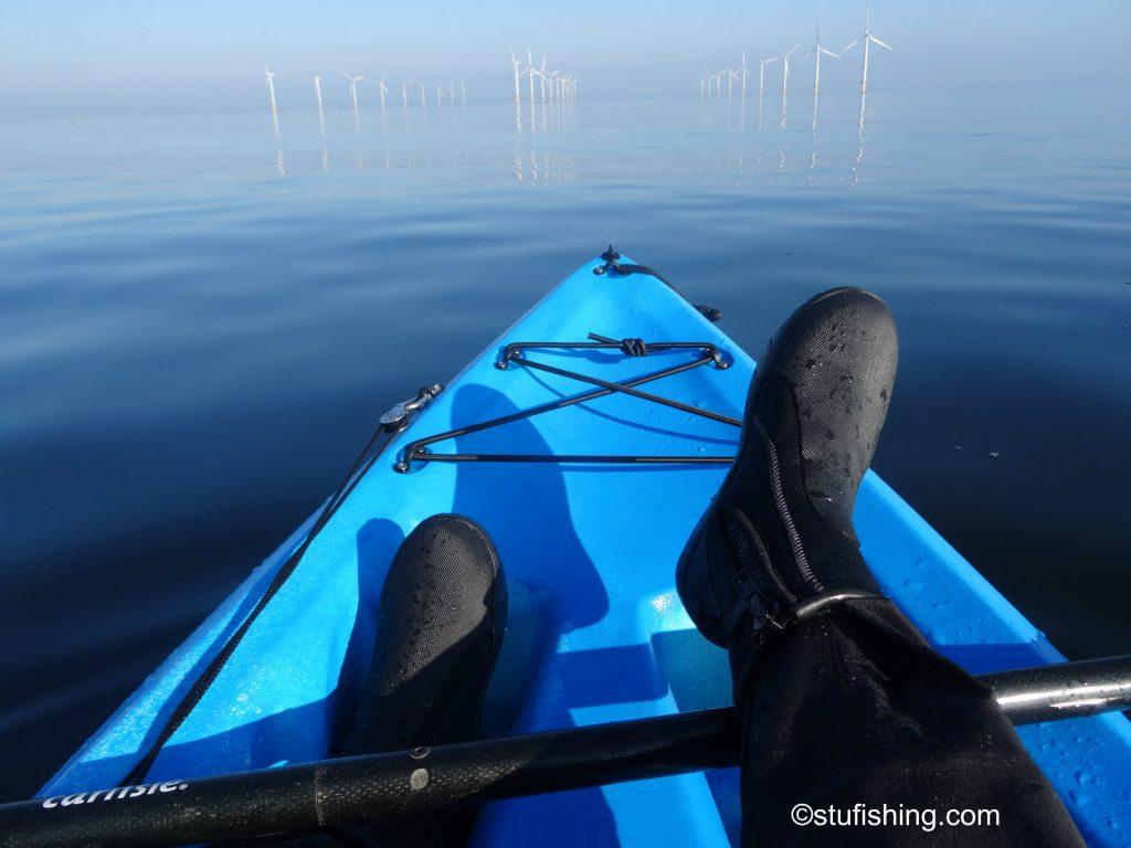 Kayak Fishing Redcar feet up