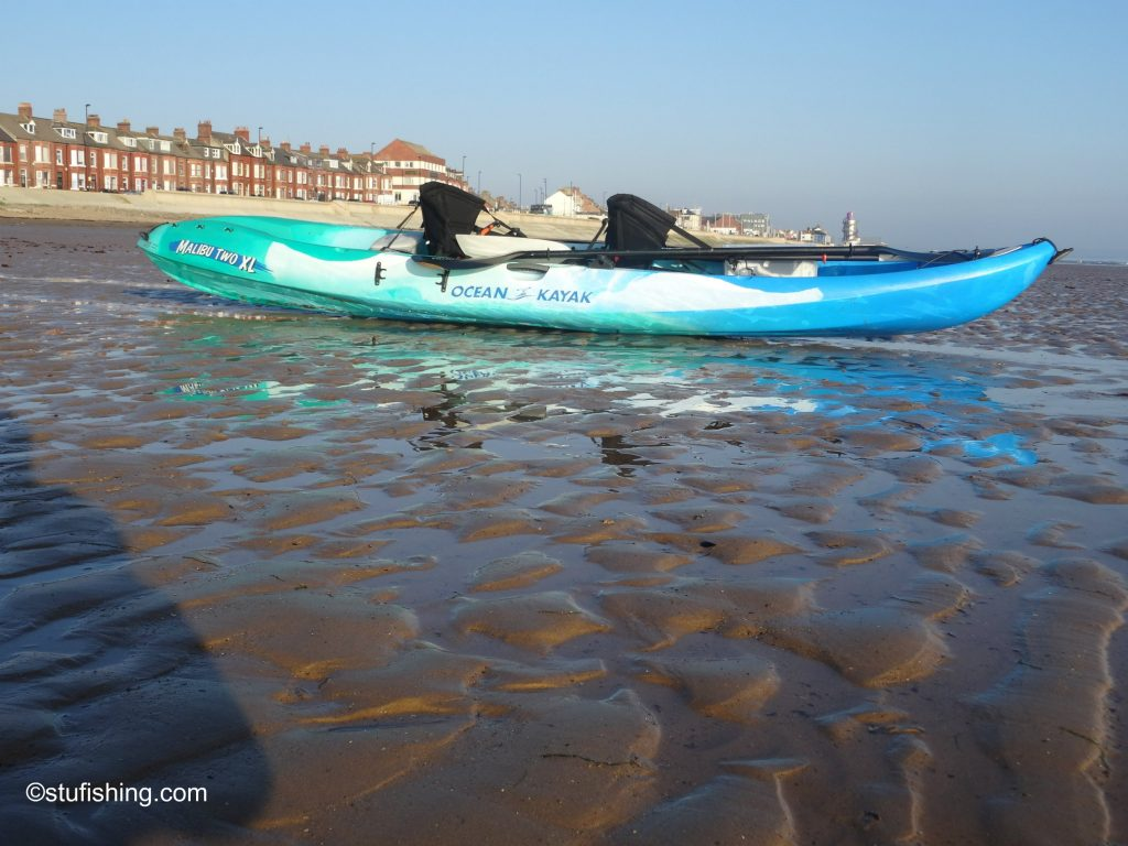 Ocean Kayak Malibu 2XL Fishing Kayak on the shore